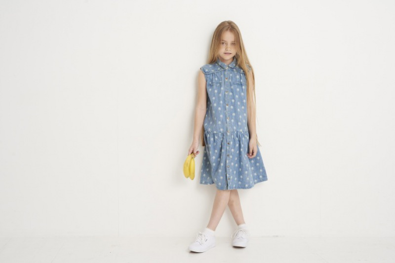 Soft Gallery Adora Dress Light denim, AOP Palmo