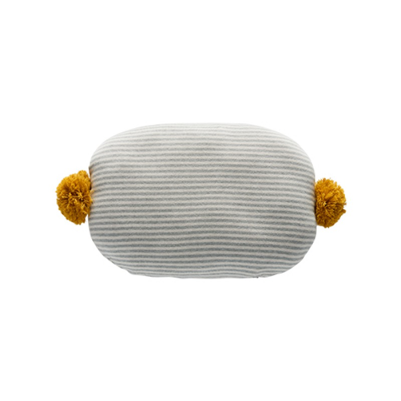 OYOY BONBON CUSHION - LIGHT GREY / WHITE / BAMBOO