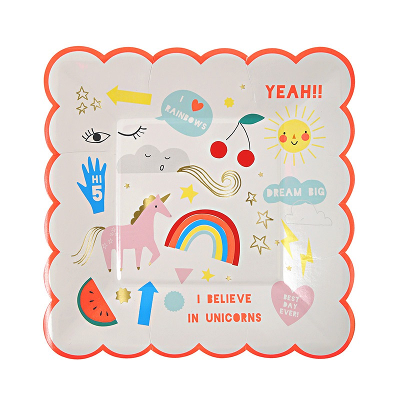 Meri Meri Partyteller-Set Rainbow & Unicorn Small Plate