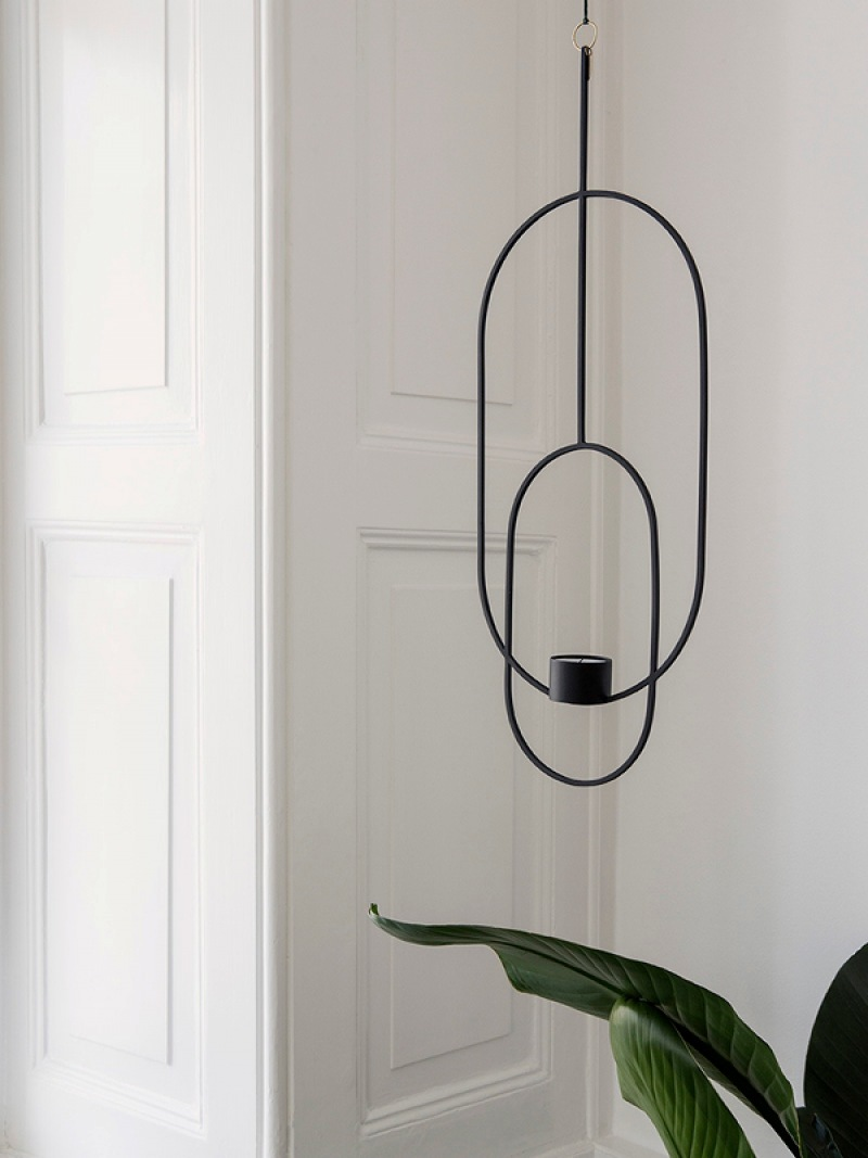 fermLIVING Hanging Tealight Deco - Oval - Black