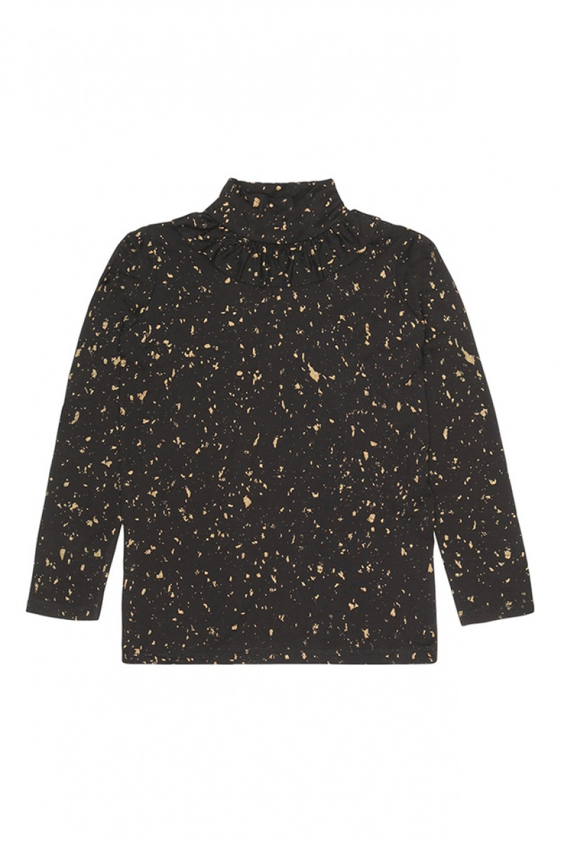 Soft Gallery  Fayenne Top, Jet Black, AOP Flakes Gold