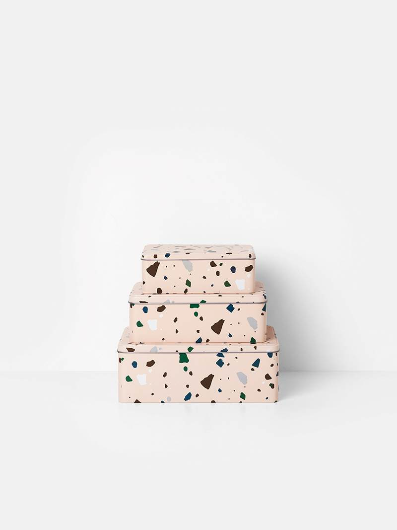 fermLIVING Tin Boxes - Terrazzo - Rose (set of 3)